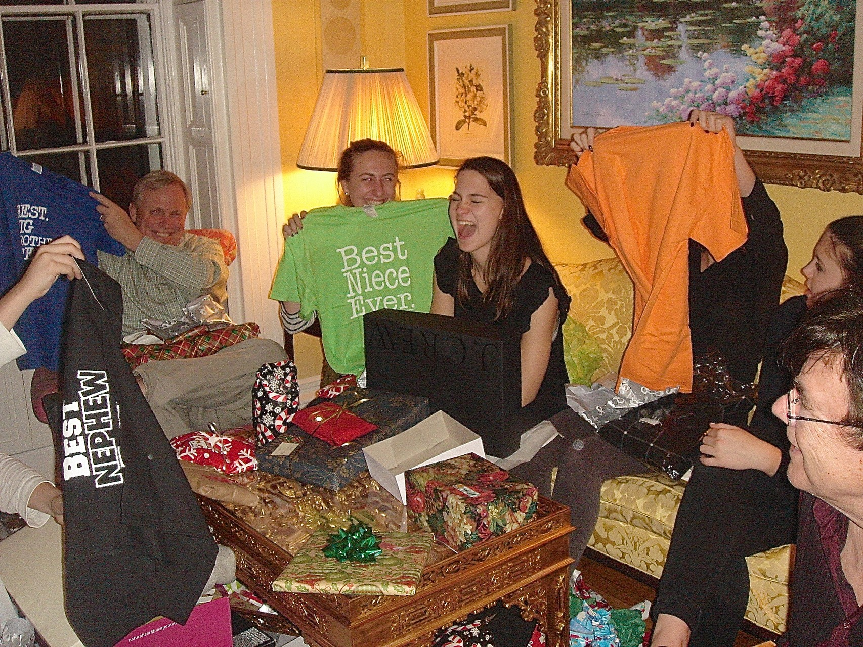 Xmas eve 2015 at Celeste's home-opening presents from Jack!