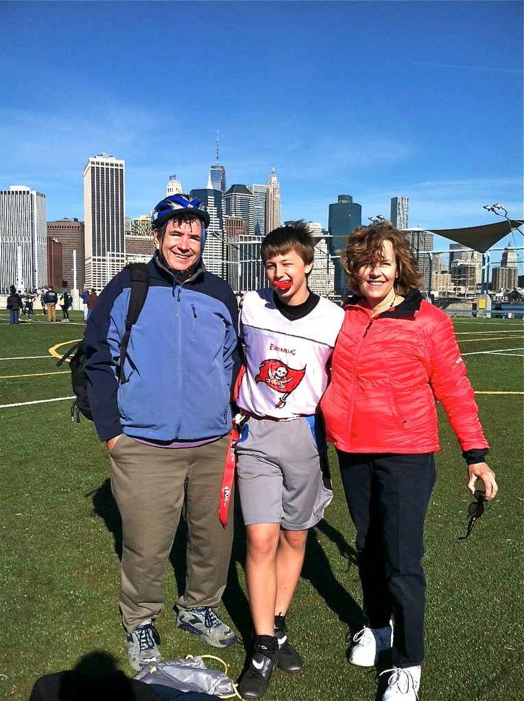 John, Jack Kagel, & Lorraine at the flag football game.