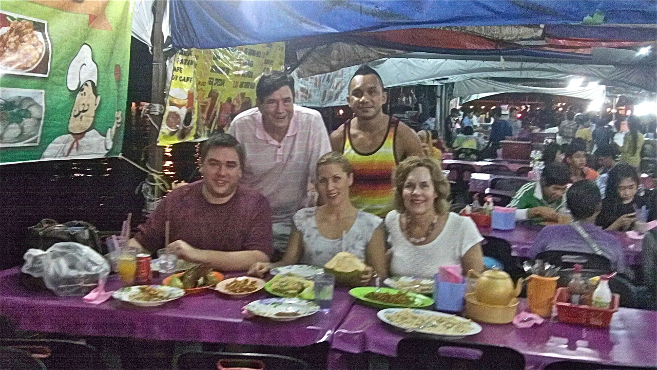 Greg, John, Emily, AJ, & Lorraine at the food stalls in Kota Kinabalu, Borneo