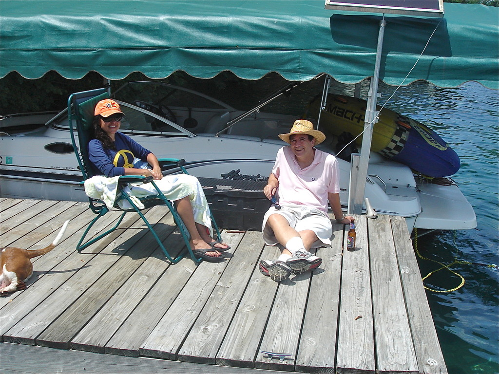 Allie & John relax at the dock