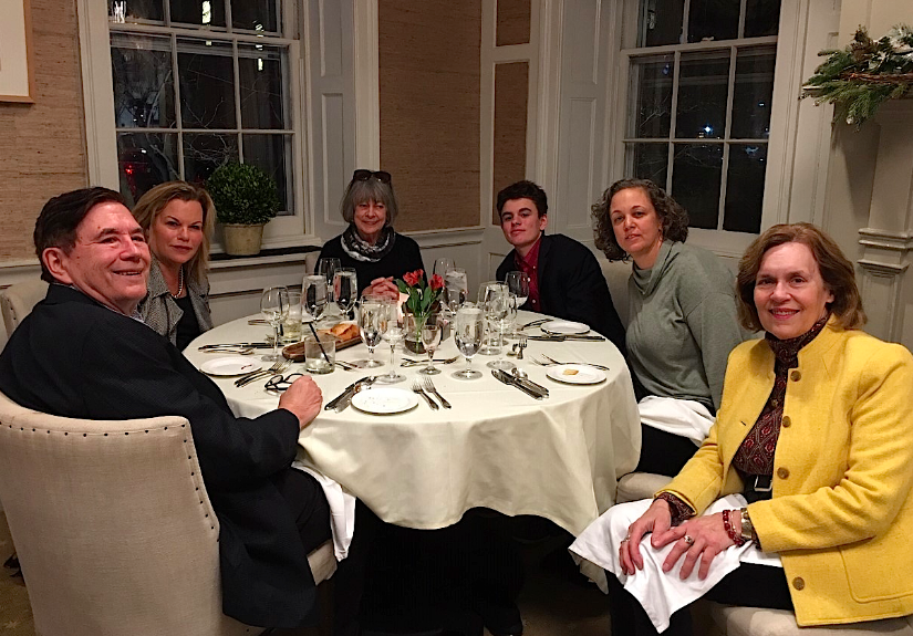 John, Celeste, Kathy H.,  Philip, Liz, & Lorraine: dinner at the Nassau Club, Princeton, NJ  2-22-20