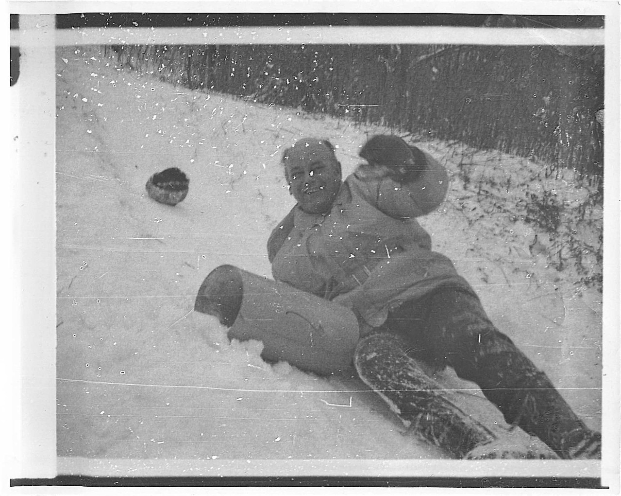 Albert Gudas sledding, 1974