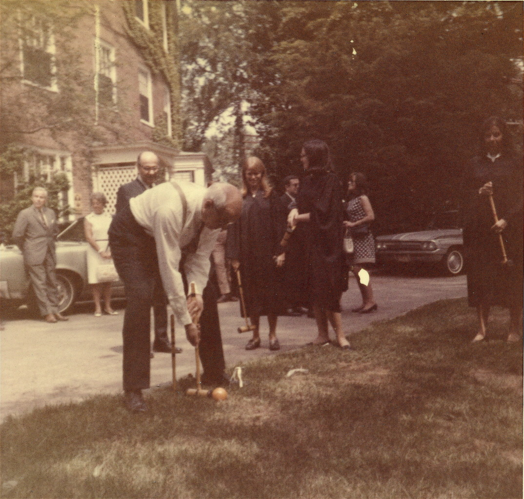 President Mendenhall playing croquette, 1969?  Smith College