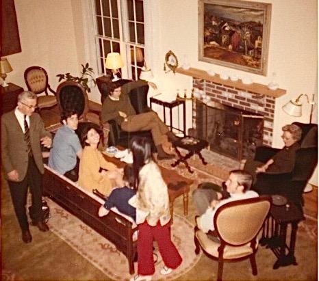 At Professor Rosenbloom's house, Thanksgiving 1970 or 1971, Princeton, Prof. Rosenbloom, Murray Weingarten, Sukrya, John Wagner, Kim (standing), ?, Mrs. Rosenbloom