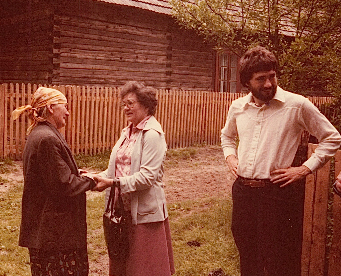 Mayme Baldyga meets Julia, Walter's wife, for the first time, John Wagner looks on..Julia gave me (Lorraine) a pillow that she embroidered; I still treasure it.