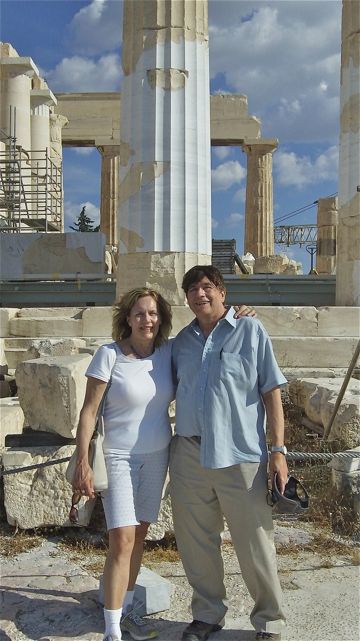 Lorraine & John in front of the Parthenon, a temple dedicated to the goddess Athena