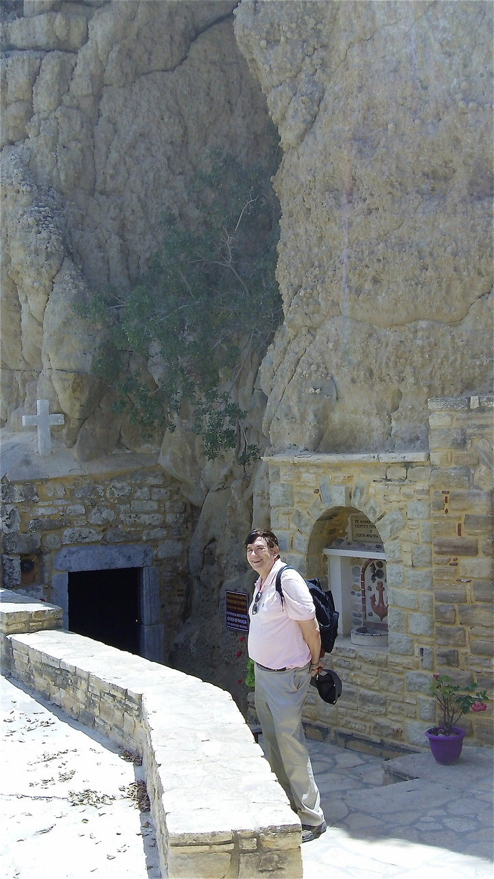 Catholic Church in a cave in Matala, Crete, John in front
