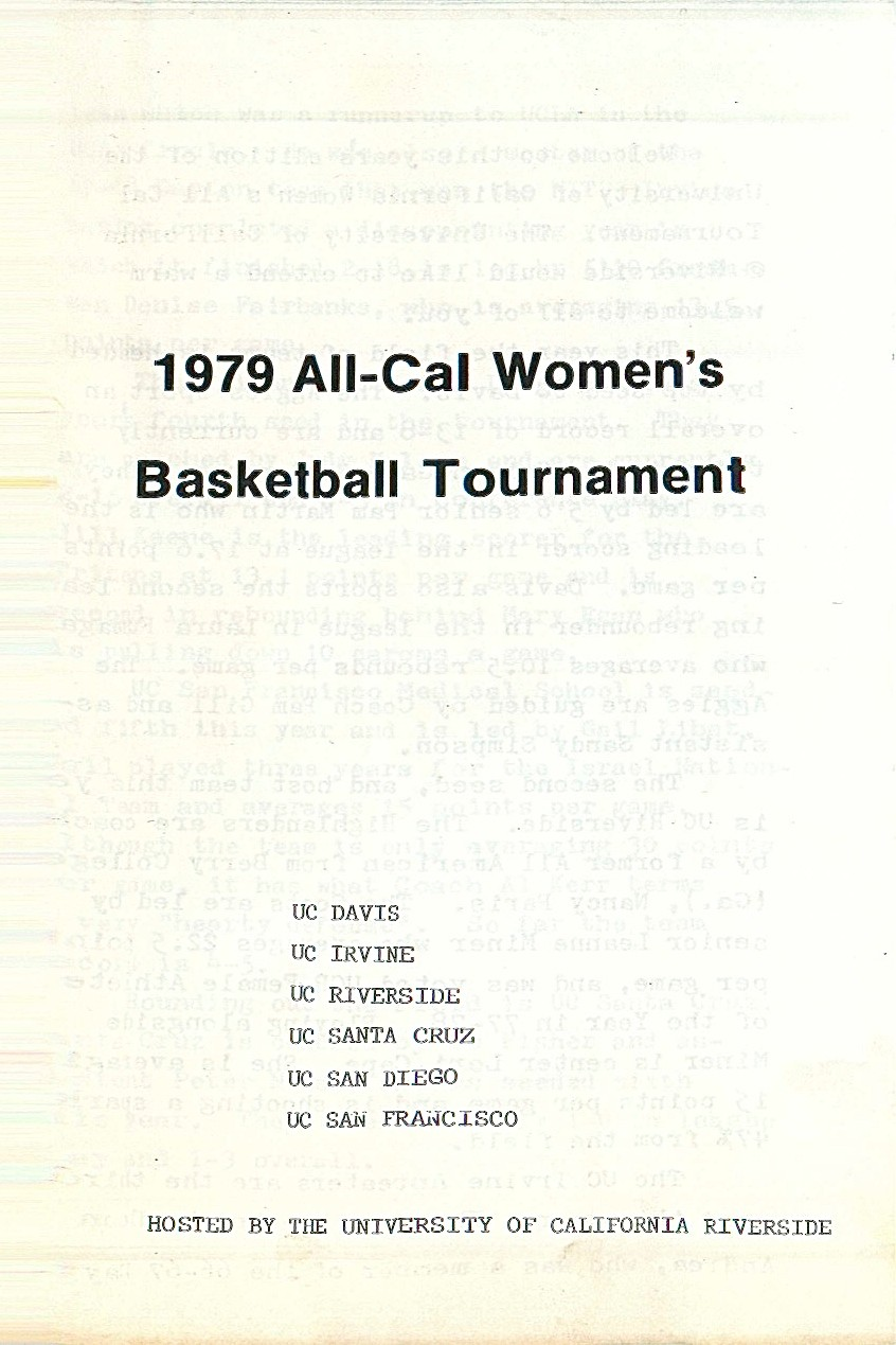 UCSF Women's Basketball Team, All-Cal Women's Basketball Tournament at UC Riverside, 1979