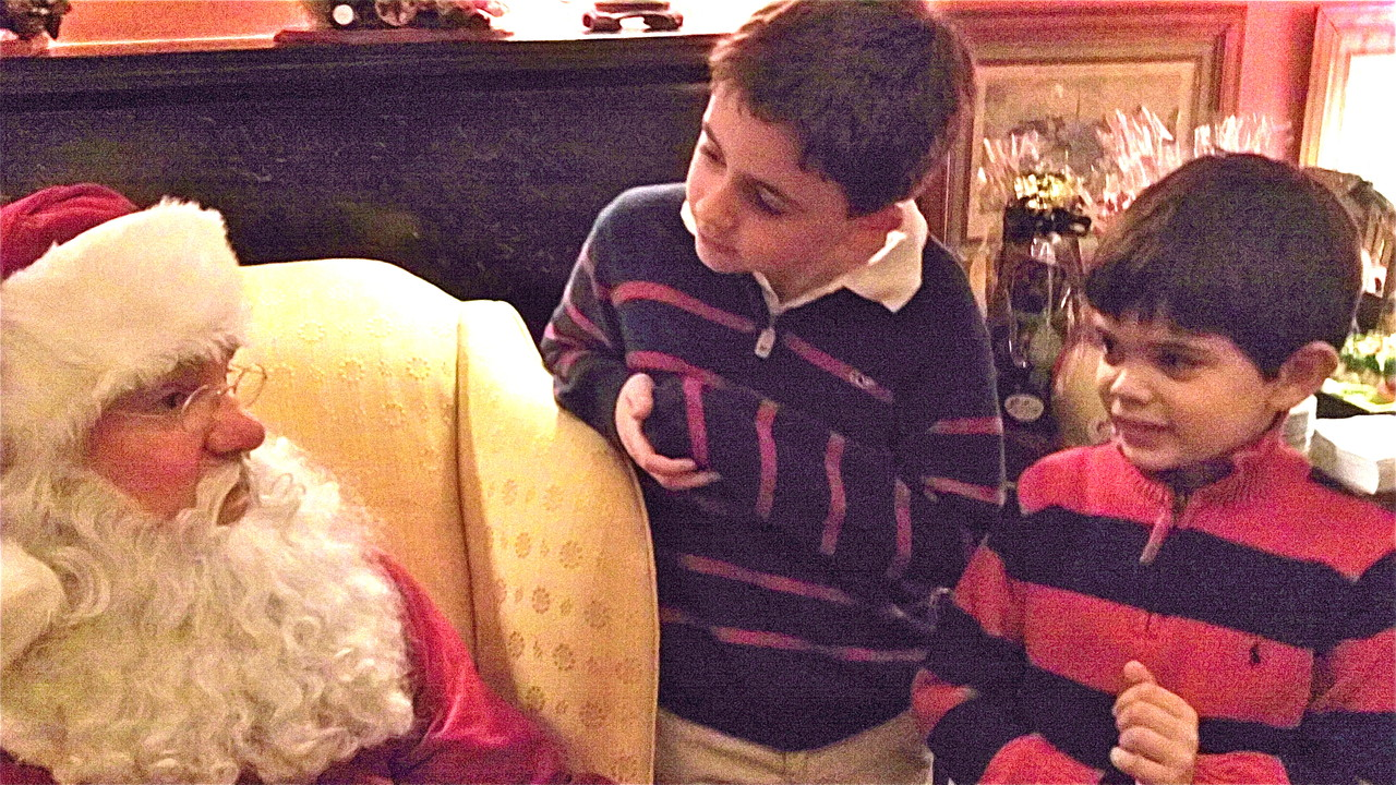 Santa with Stuey III & Sam Kagel, both 7 years old.