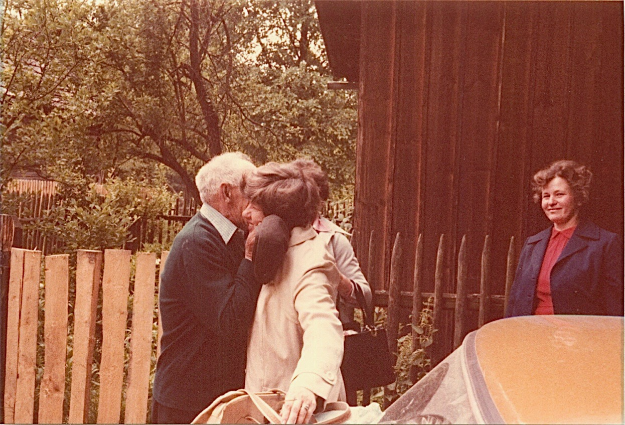 First emotional meeting with Walter, 72 yrs old in 1978, in Papierna, in the woods, ~ 2 miles from Rzemien on a dirt road. Jadwiga, Walter's daughter, looks on....