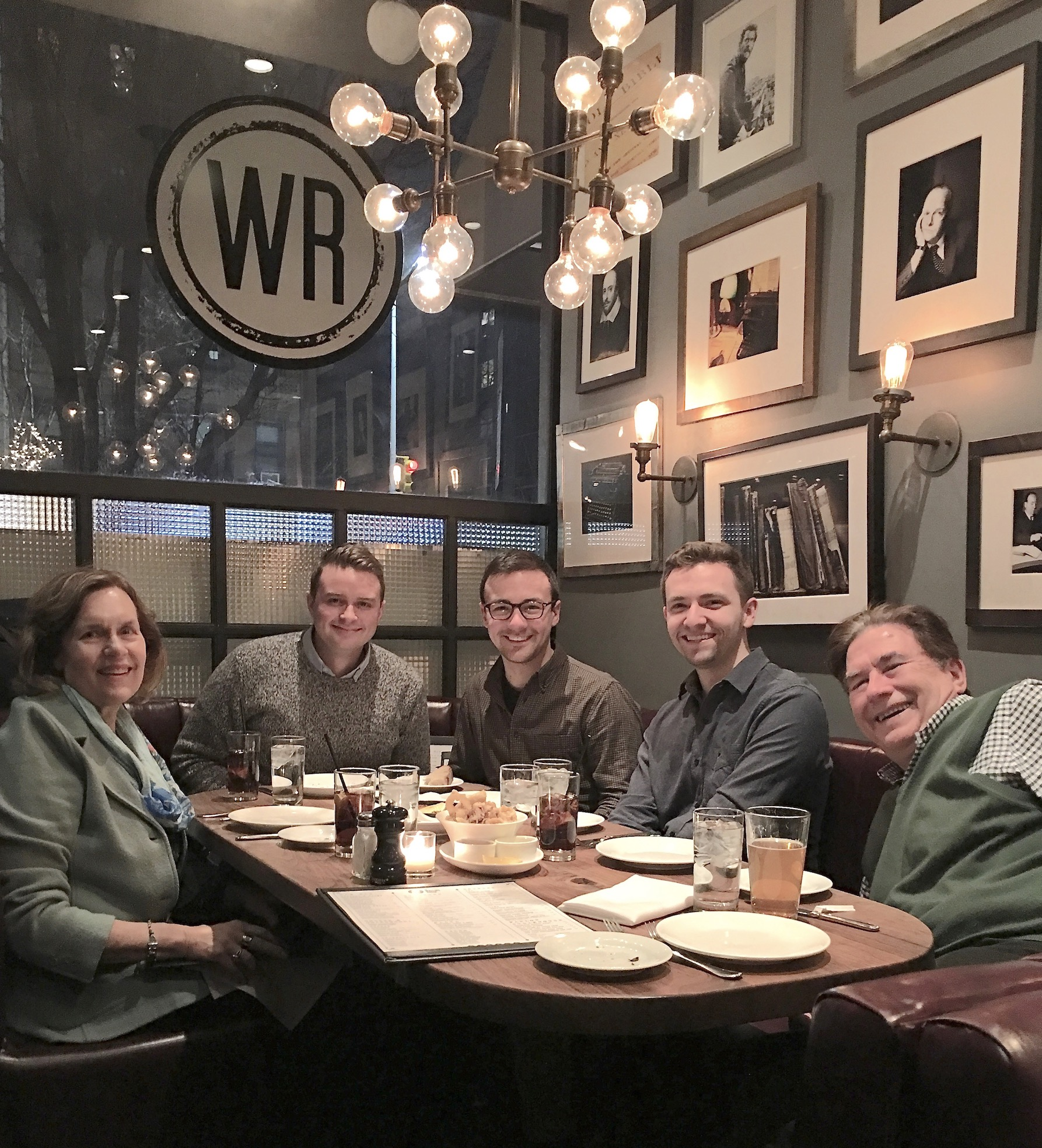 Lorraine, a cousin, Trevan S. , Collin, & John at dinner, in Manhattan, Feb., 2019