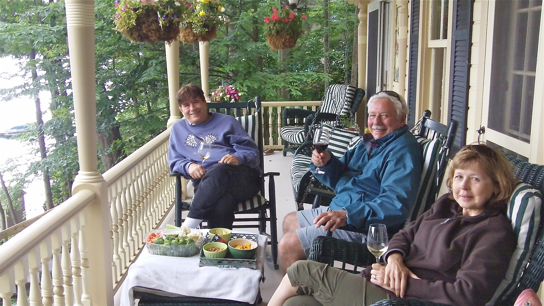 John, Don, & Barbara, on porch of Celeste's lake house, Skaneateles, NY