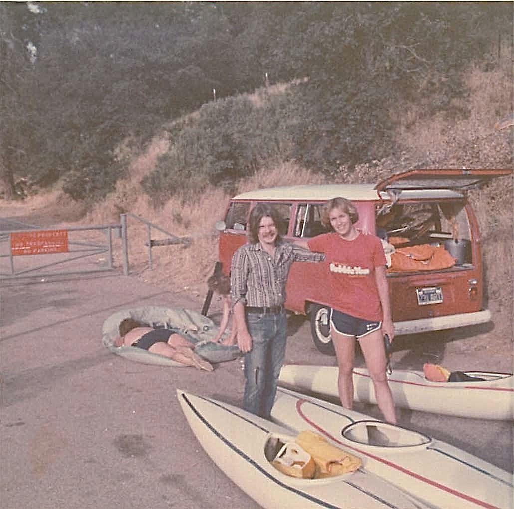 Steve & Lorraine Mokuleme River kayaking trip, 1978, near Eureka, CA