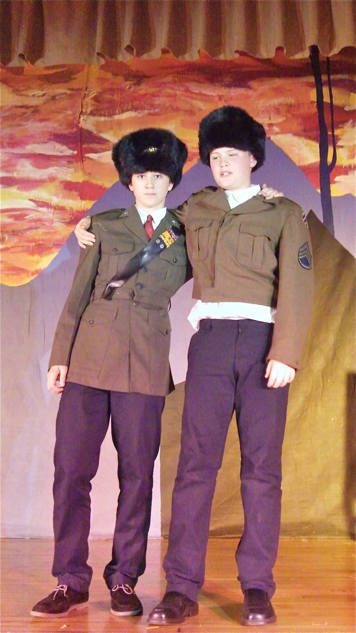 Jack (James) Kagel (left) in his class play, Fiddler on the Roof, May 2014