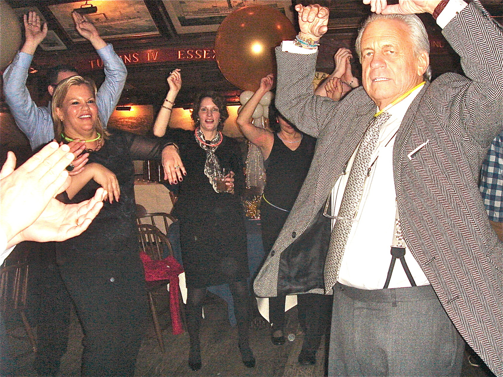 Celeste and Stuart show get down on the dance floor; Lisa Kagel in middle in back.