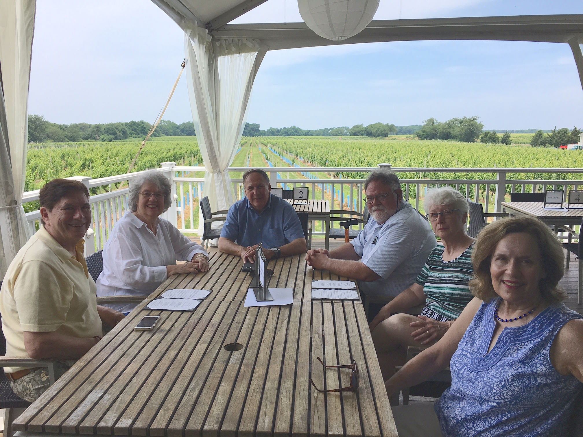 John, Betsy, Fred, Dave, Chris, & Lorraine at a winery on LI