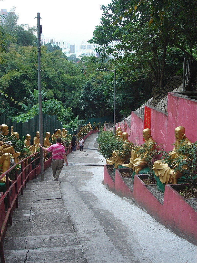 We had to climb at least 400 steps to get to the 10,000 Buddhas Monastery