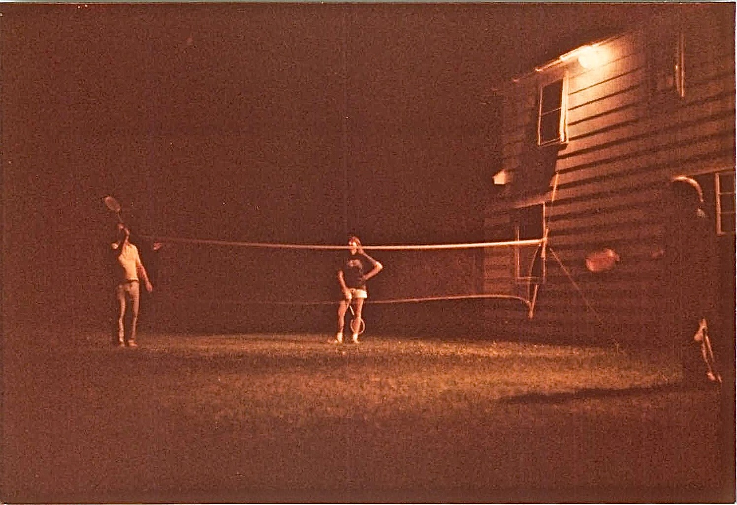 Badminton in backyard, Lockwood Rd. 1978 Al, Celeste, & Eleanor Gudas