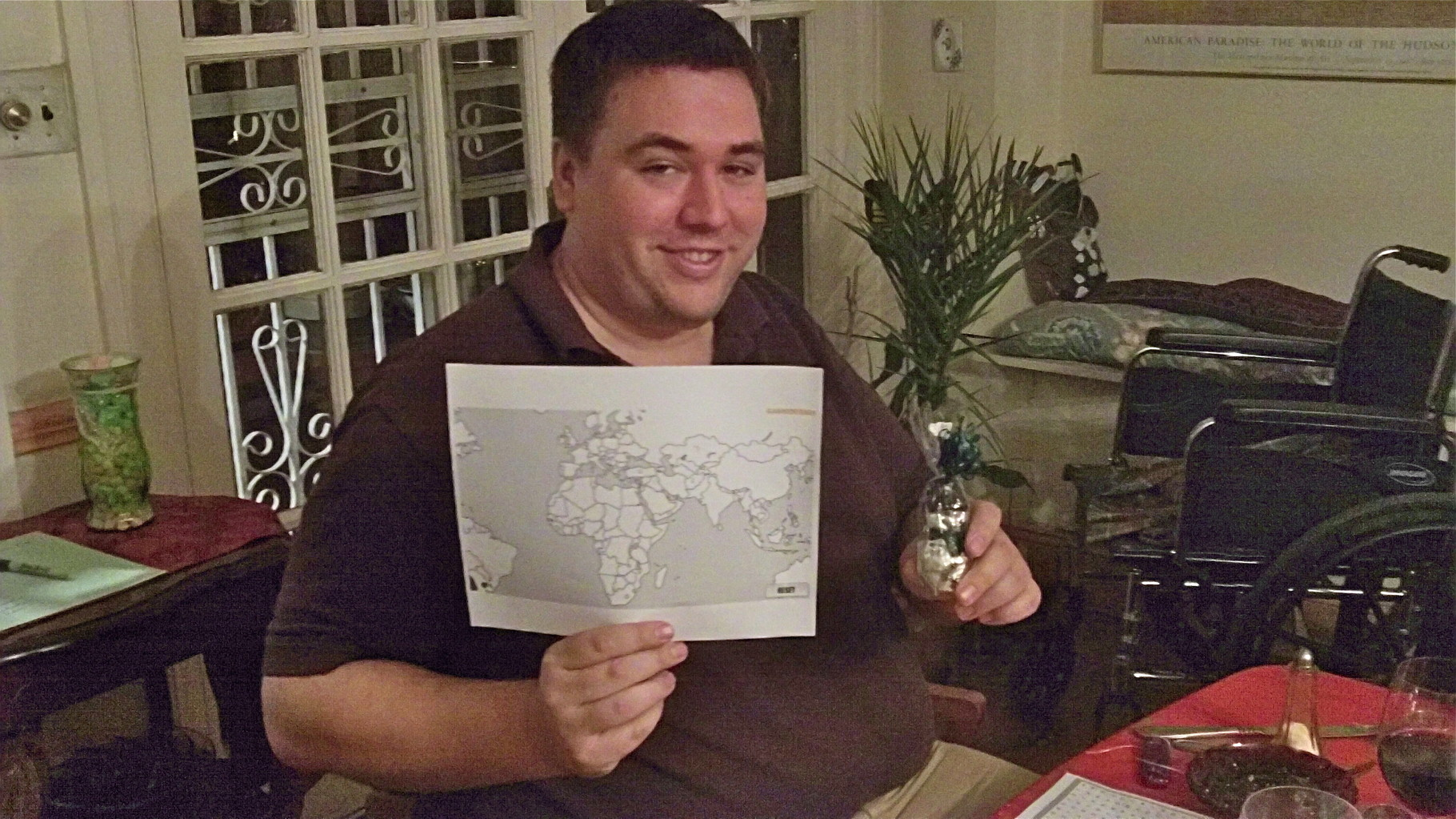 Greg wins the Middle East geography quiz-where is Bethlehem?? etc