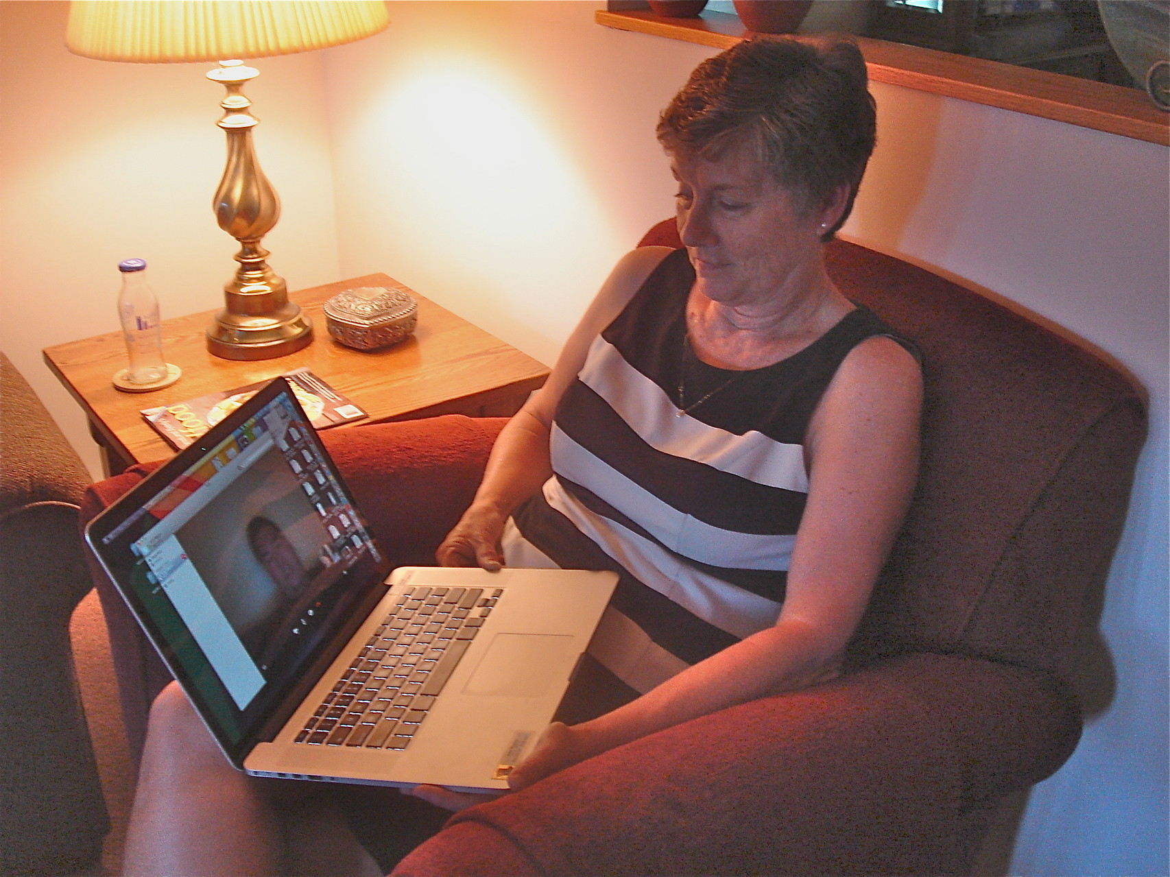 Cindy Wagner skypes with Greg Wagner, her nephew.