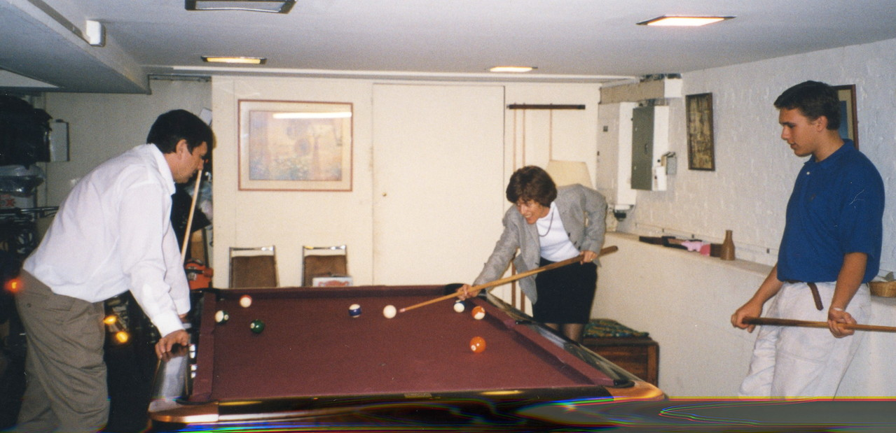 John, Nancy & Greg play pool, 2004?