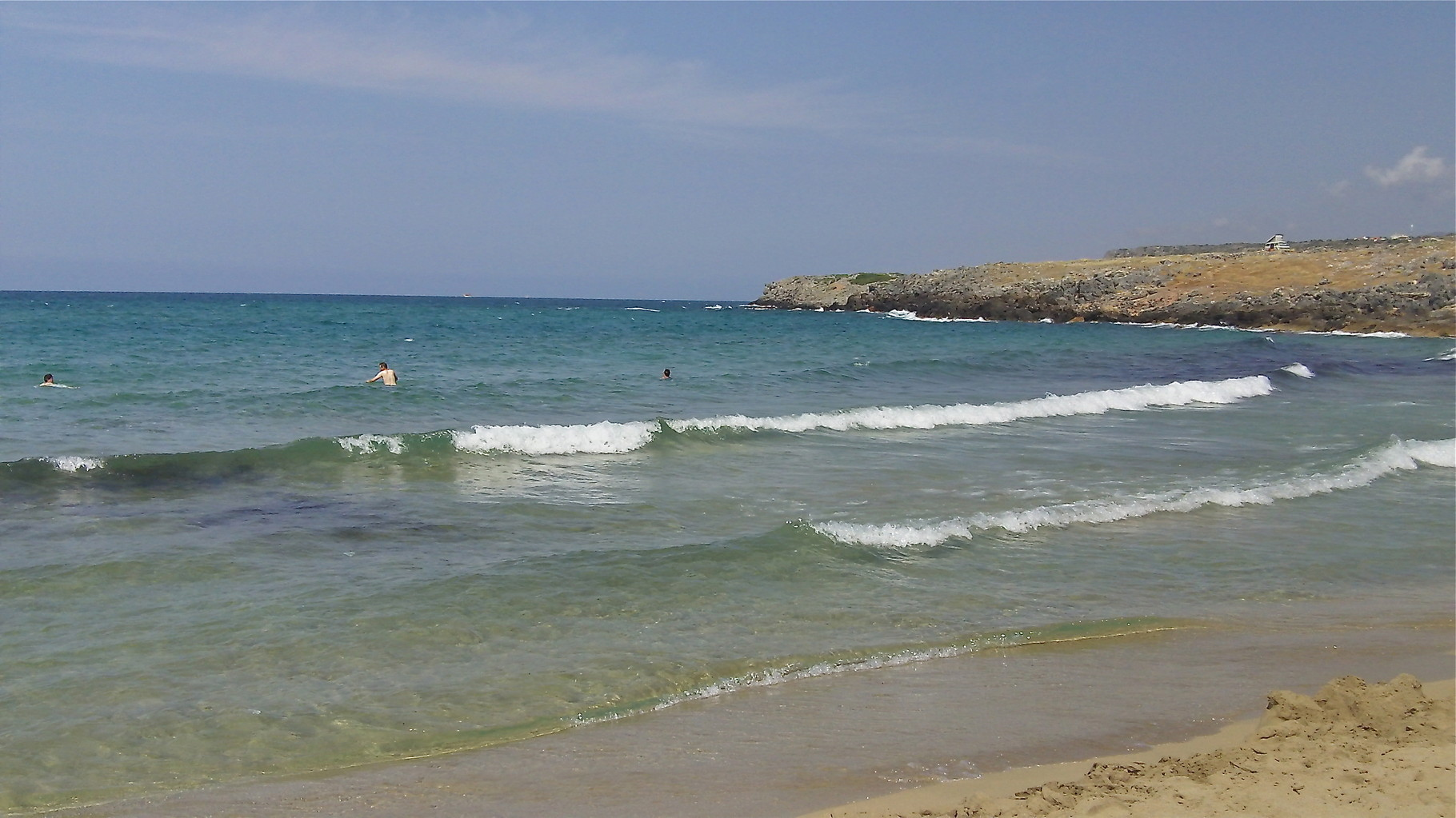 beach near Malia, John in water at left of picture