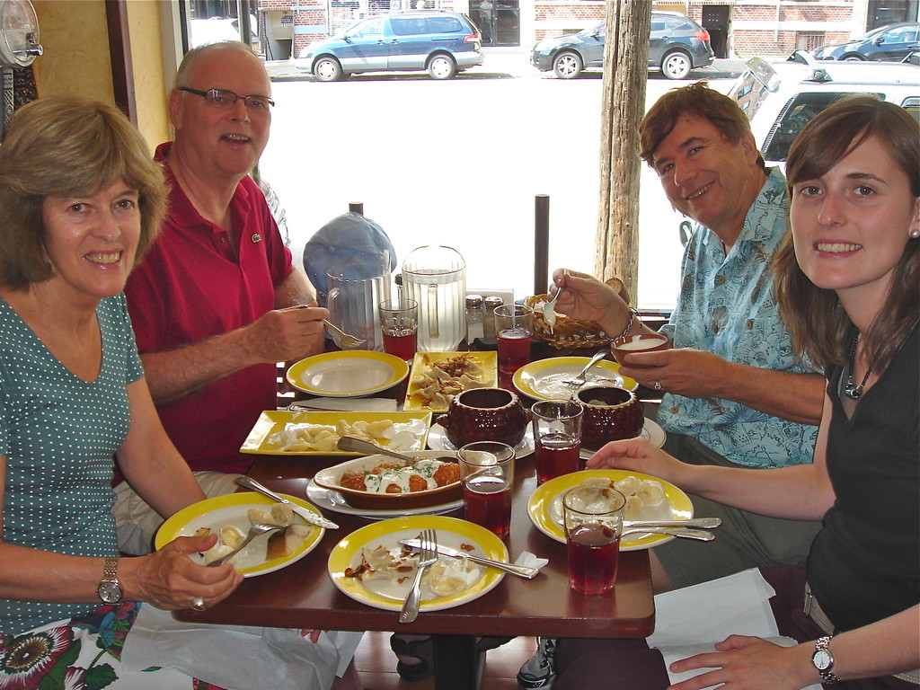 Nancy, Bernd, John & Anna, with pelmeni, Cafe Gleshik, Brighton Beach