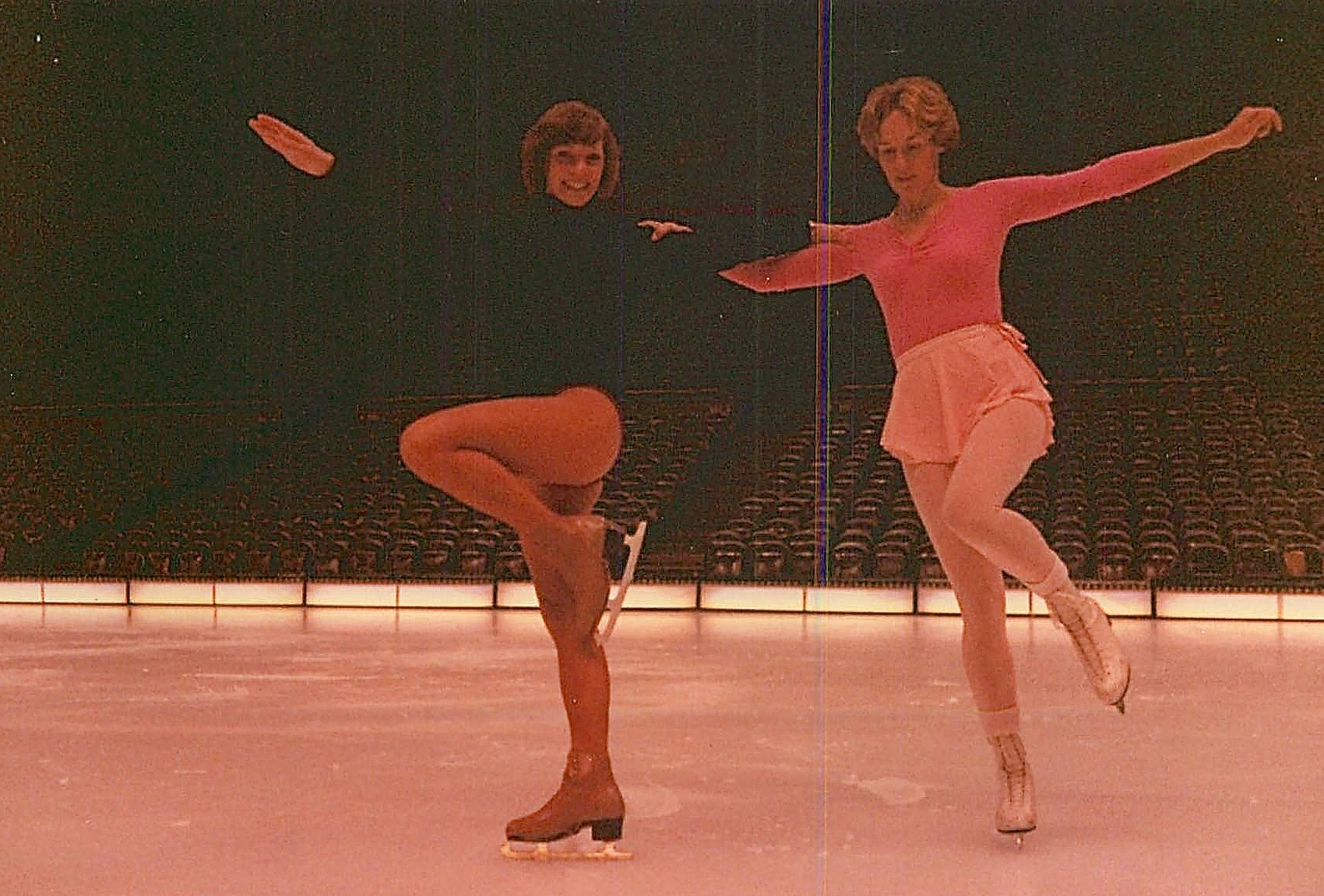 Lorraine on right skating in the Oakland Coliseum with the Ice Capades, 1979