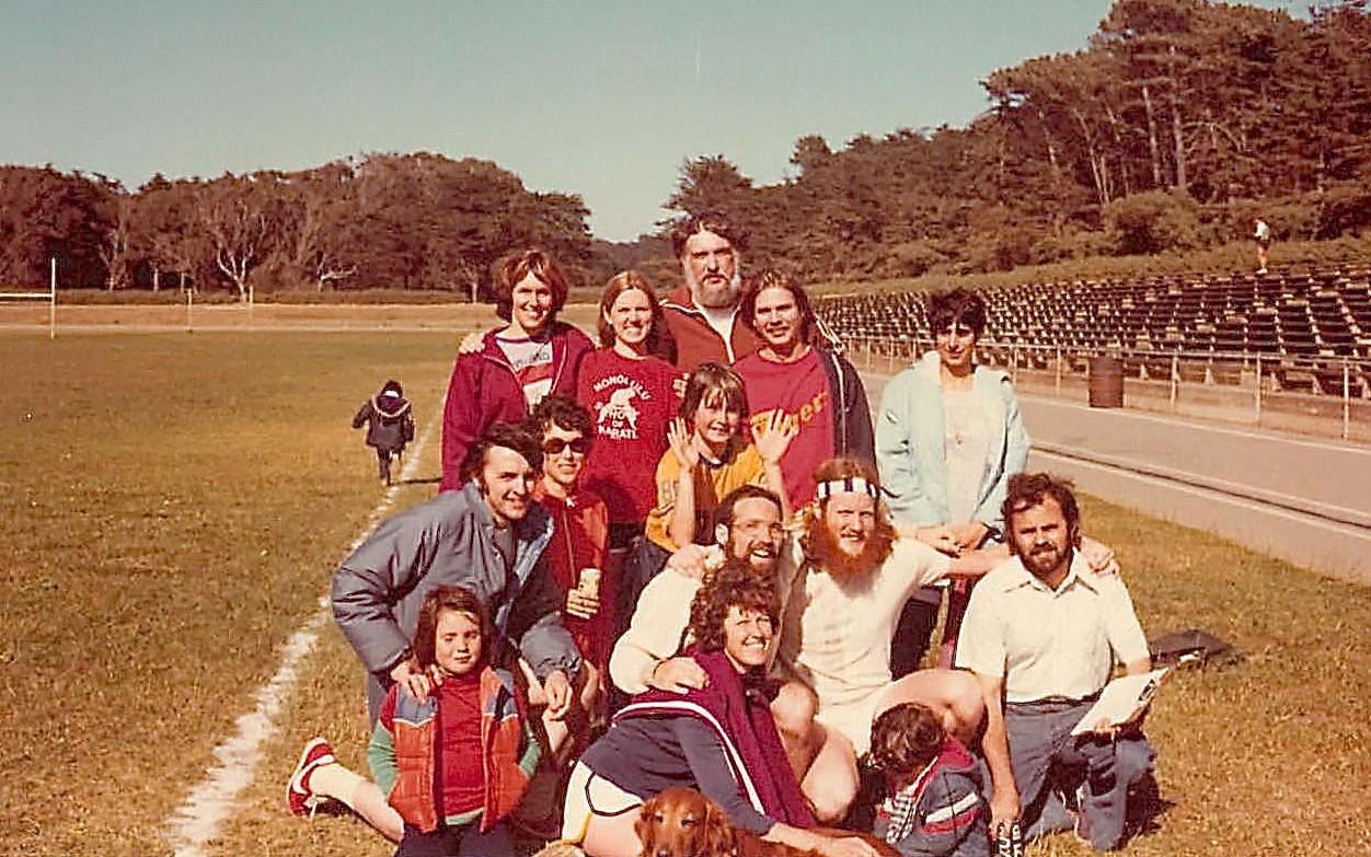 1977 Great Race II: Gillian, Debby Doyle, Ruthie Cohen (front); Dave Martin, Barbara Levinson, Dave Jr,Mike Bishop, Buddy Ullman, Vasillis Zannis; back: Lorraine Gudas, Shirley Clift, Nick Kredich, Jim McRoberts, Sara Cohen