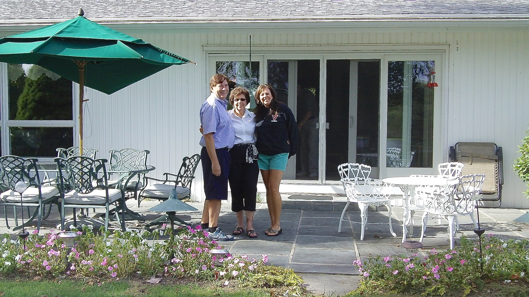 John, Kathy, & Kathy's daughter Cindy at the back of Kathy's home in Connecticut