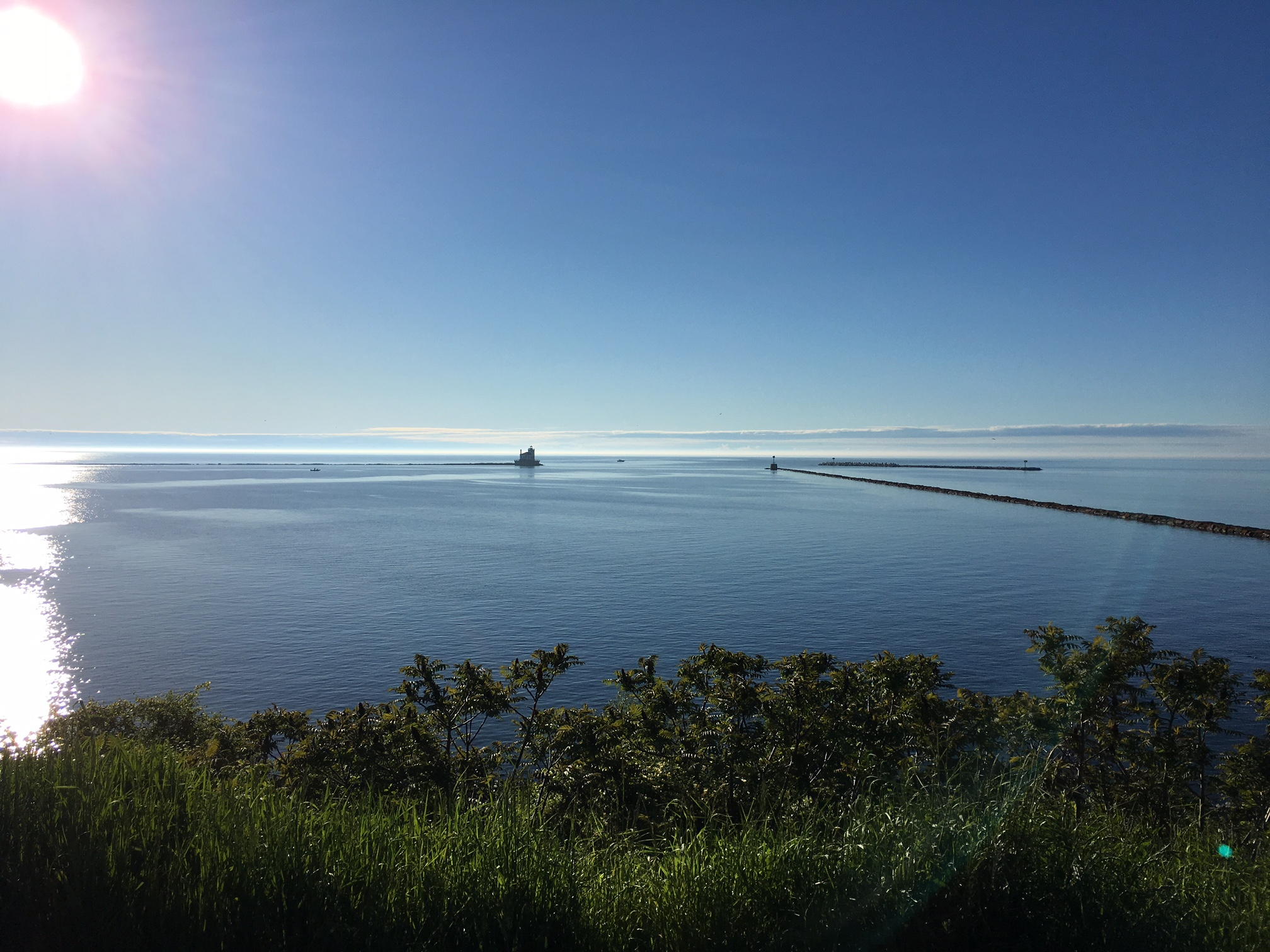 Looking out at the lighthouse on Ontario Lake, from Fort Oswego, May 27, 2017