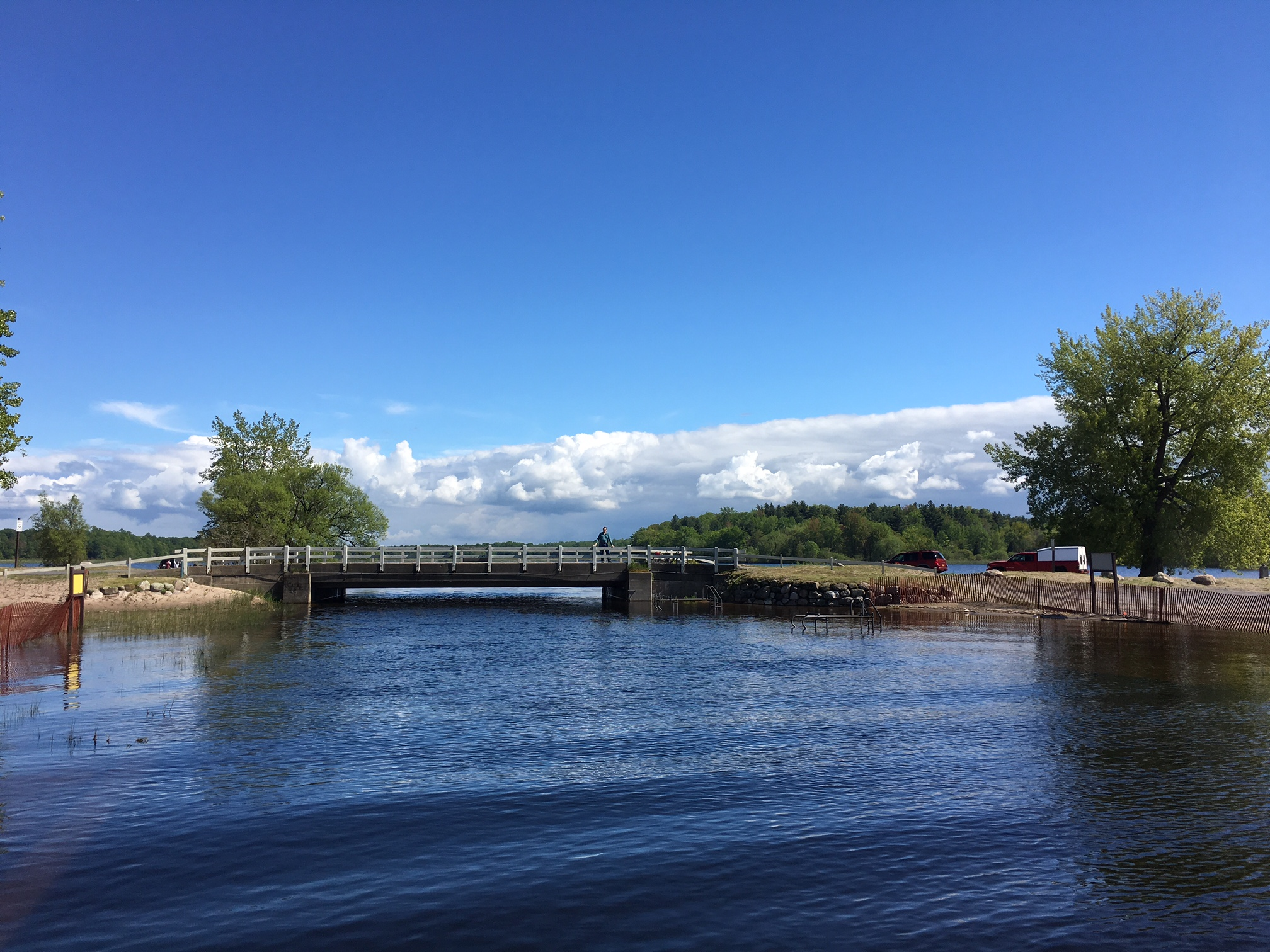 Fair Haven Beach, John is on the bridge..Lake Ontario is very high this year.