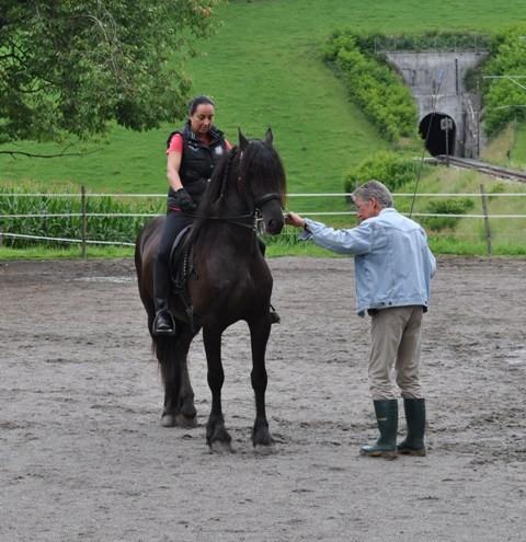 Martin Bieli mit Techniek und Anne beim Training