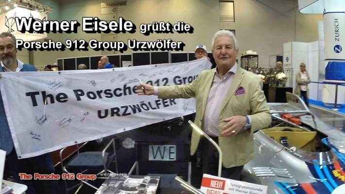Werner Eisele und das Porsche 912 Actionbanner auf der TechnoClassica Essen