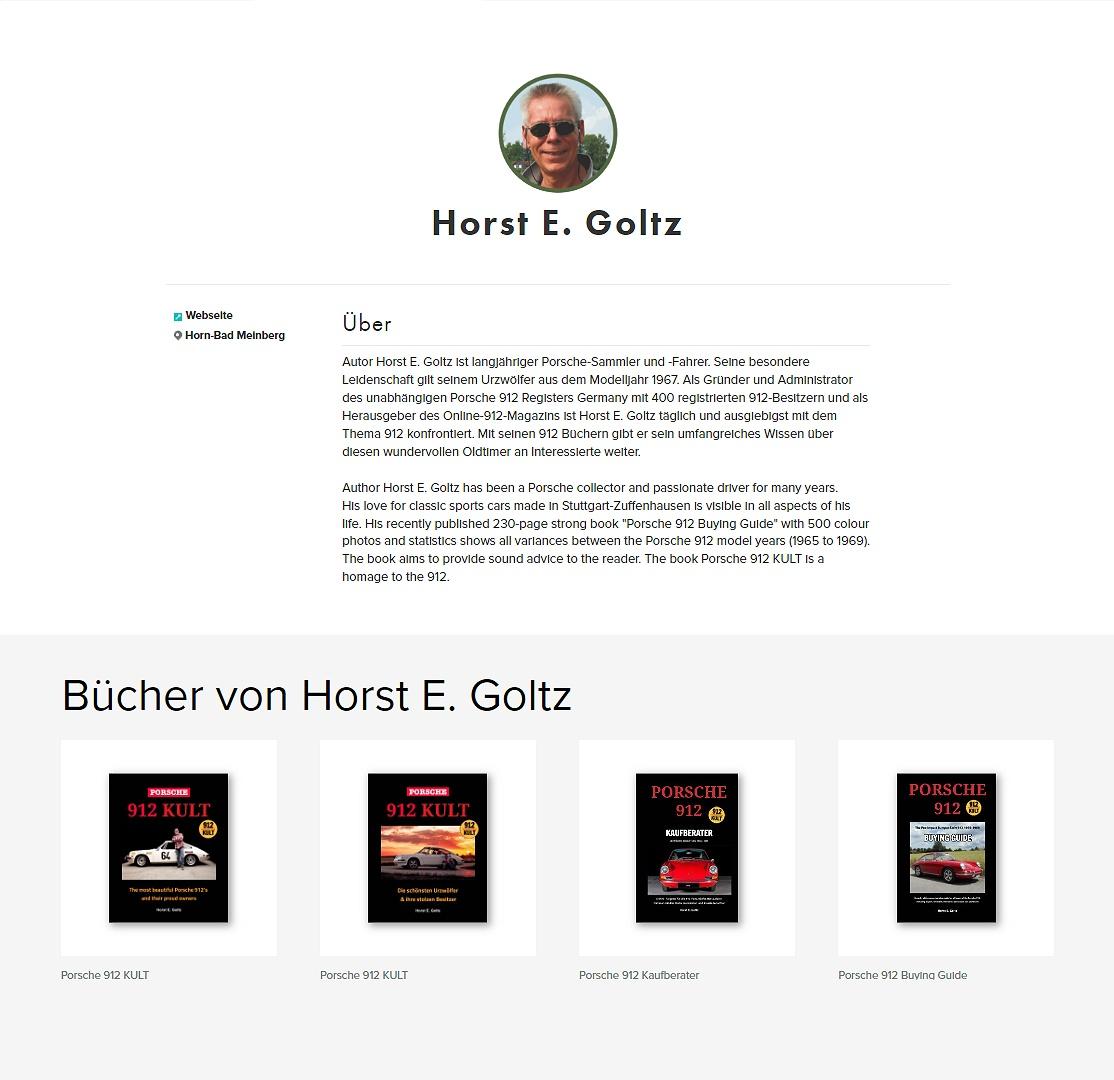 Autor Horst E. Goltz - Porsche 912 Ratgeber - Kaufberater