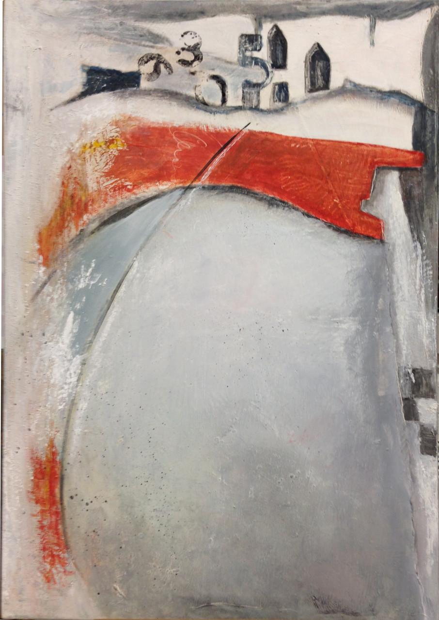 70 x 50 cm abstrakt auf Leinwand - Formel 1 Nummer 2 - Pigmente mit Leinölfirnis