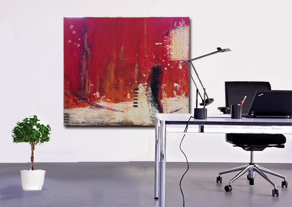 80 x 80 cm abstrakt auf Leinwand - Skyline - Pigmente mit Leinölfirnis - VERKAUFT