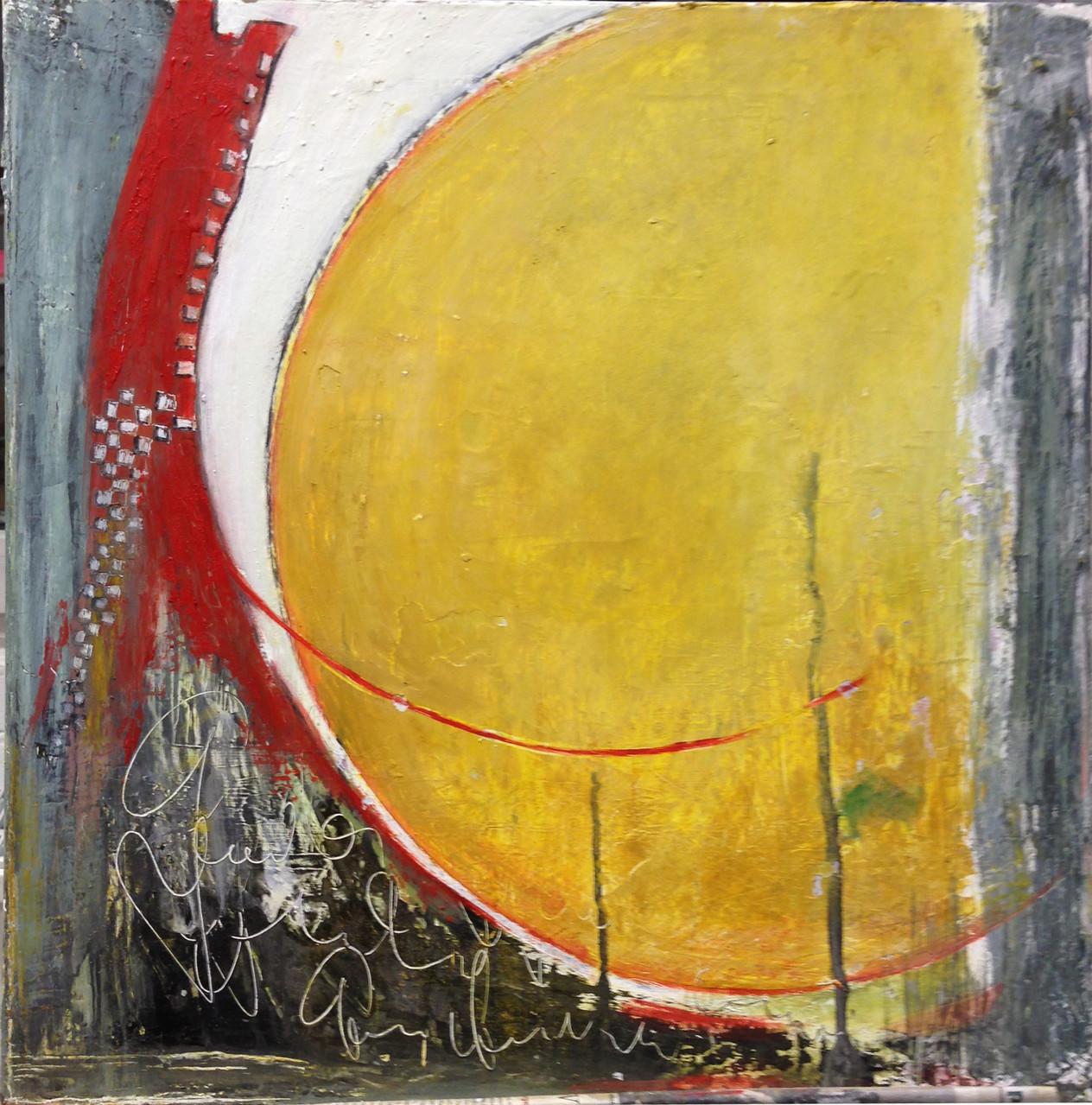 50 x 50 cm abstrakt auf Leinwand - Morgenlicht - Pigmente mit Leinölfirnis