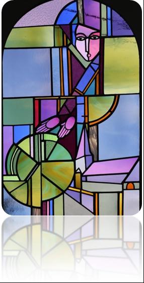 Sainte Walburge. Futur vitrail de l'église de Wéris. Dessin Gilbert Laloux