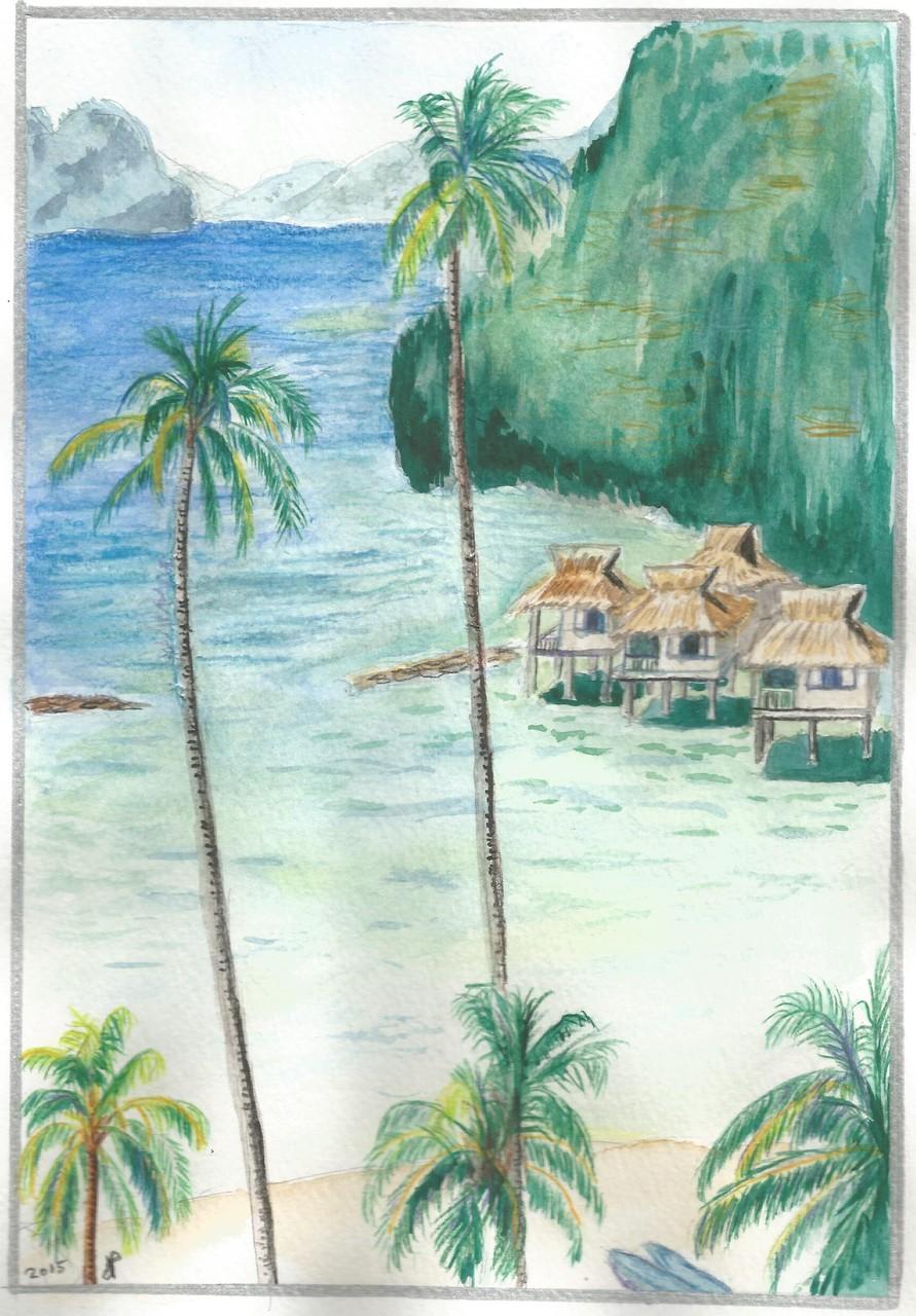 Aquarelle plage 2015