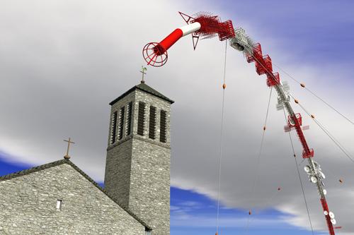 Donnerberger Sender mit der Kirche St. Josef