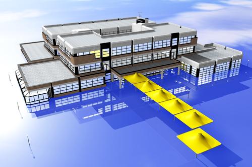 Stolberger Goethe-Gymnasium in einer virtuellen Landschaft