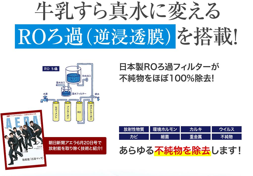 牛乳すら真水に変えるROろ過(逆浸透膜)を搭載!日本製フィルター、不純物をほぼ100%除去