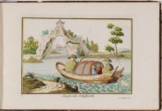 Christoph Weigel (1645-1725) nach Olfert Dapper, Chinesisches Boot, Radierung, handkoloriert, Nürnberg, um 1700-1725, Staatliche Kunstsammlungen Dresden, Kupferstich-Kabinett, Inv.-Nr. B 1156,2/XIV/17