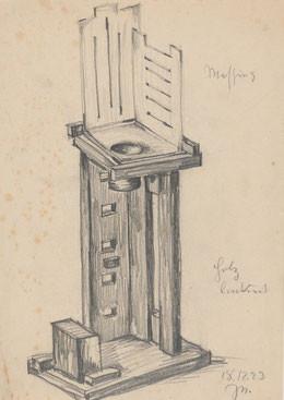 Johannes Niemeyer, Entwurf für eine Komposition in Holz und Messing, 1923, Bleistift auf Papier, Galerie Wannsee, Berlin