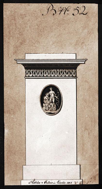 Musterblatt der Fabrik Höhler & Feilner, 1808. Stadtmuseum Berlin