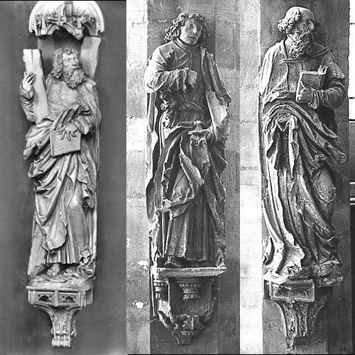 Halle, Dom, Pfeilerfiguren der Apostel Andreas, Johannes und Paulus, Fotos: Datenbank zur Plastik in Mitteldeutschland