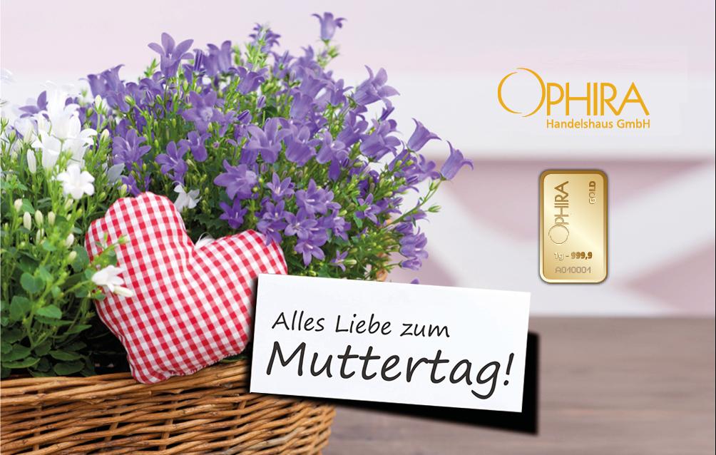 Geschenkbarren Motivbarren Gold Muttertag Alles Liebe zum Muttertag mit einem Goldbarren in Kunststoffgehäuse und edlem Geschenketui