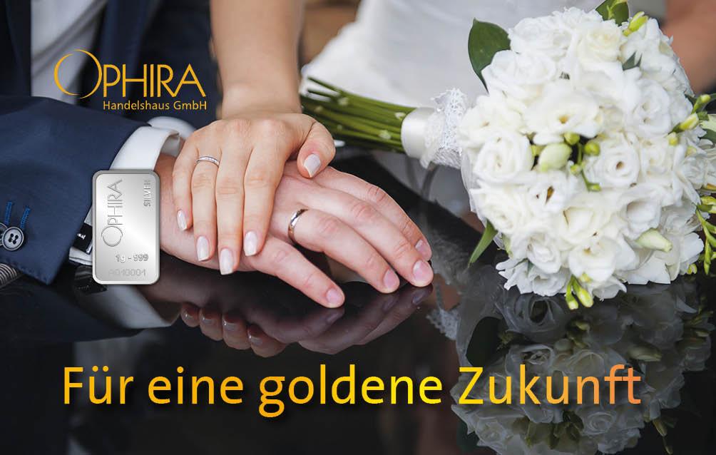 Geschenkbarren Motivbarren Silber Hochzeit Zur Hochzeit alles Gute mit Silberbarren in Kunststoffgehäuse und edlem Geschenketui