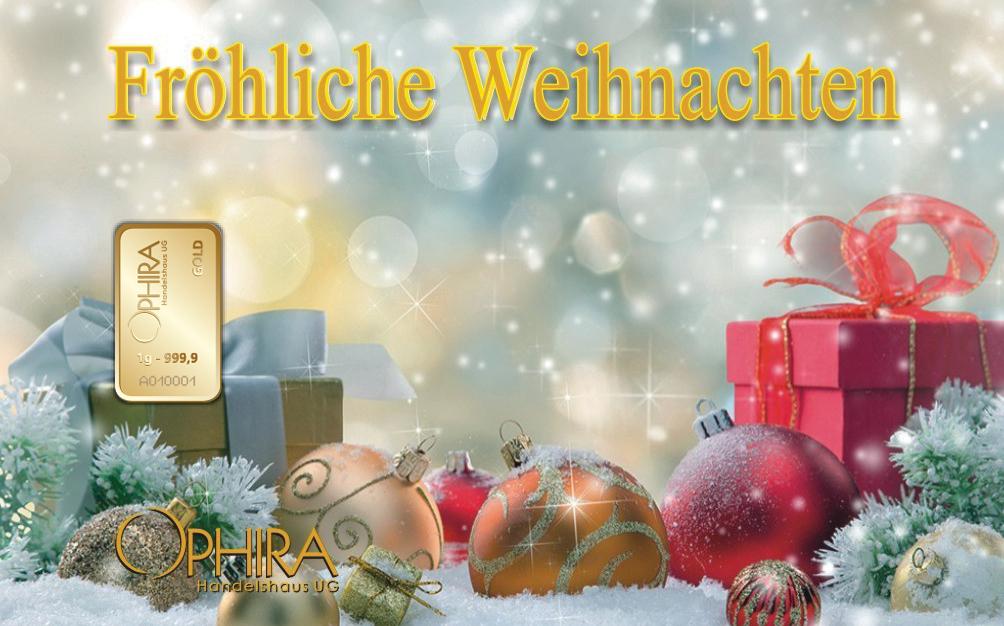 Geschenkbarren Motivbarren Fröhliche Weihnachten mit einmal Goldbarren in Kunststoffgehäuse und edlem Geschenketui